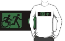 Accessible Means of Egress Icon Exit Sign Wheelchair Wheelie Running Man Symbol by Lee Wilson PWD Disability Emergency Evacuation Adult T-shirt 364