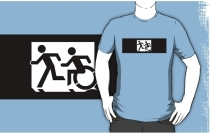 Accessible Means of Egress Icon Exit Sign Wheelchair Wheelie Running Man Symbol by Lee Wilson PWD Disability Emergency Evacuation Adult T-shirt 365