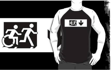 Accessible Means of Egress Icon Exit Sign Wheelchair Wheelie Running Man Symbol by Lee Wilson PWD Disability Emergency Evacuation Adult T-shirt 37