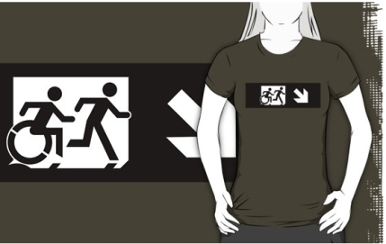 Accessible Means of Egress Icon Exit Sign Wheelchair Wheelie Running Man Symbol by Lee Wilson PWD Disability Emergency Evacuation Adult T-shirt 371