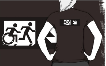 Accessible Means of Egress Icon Exit Sign Wheelchair Wheelie Running Man Symbol by Lee Wilson PWD Disability Emergency Evacuation Adult T-shirt 372