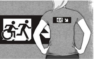Accessible Means of Egress Icon Exit Sign Wheelchair Wheelie Running Man Symbol by Lee Wilson PWD Disability Emergency Evacuation Adult T-shirt 373