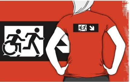Accessible Means of Egress Icon Exit Sign Wheelchair Wheelie Running Man Symbol by Lee Wilson PWD Disability Emergency Evacuation Adult T-shirt 375