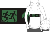 Accessible Means of Egress Icon Exit Sign Wheelchair Wheelie Running Man Symbol by Lee Wilson PWD Disability Emergency Evacuation Adult T-shirt 376