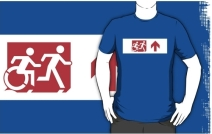 Accessible Means of Egress Icon Exit Sign Wheelchair Wheelie Running Man Symbol by Lee Wilson PWD Disability Emergency Evacuation Adult T-shirt 377