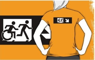 Accessible Means of Egress Icon Exit Sign Wheelchair Wheelie Running Man Symbol by Lee Wilson PWD Disability Emergency Evacuation Adult T-shirt 378