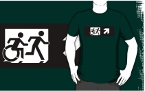 Accessible Means of Egress Icon Exit Sign Wheelchair Wheelie Running Man Symbol by Lee Wilson PWD Disability Emergency Evacuation Adult T-shirt 379