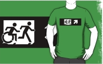 Accessible Means of Egress Icon Exit Sign Wheelchair Wheelie Running Man Symbol by Lee Wilson PWD Disability Emergency Evacuation Adult T-shirt 380