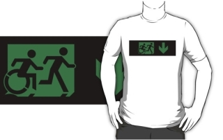 Accessible Means of Egress Icon Exit Sign Wheelchair Wheelie Running Man Symbol by Lee Wilson PWD Disability Emergency Evacuation Adult T-shirt 38