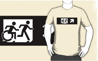 Accessible Means of Egress Icon Exit Sign Wheelchair Wheelie Running Man Symbol by Lee Wilson PWD Disability Emergency Evacuation Adult T-shirt 381