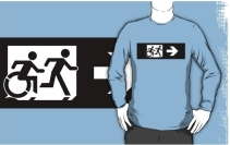 Accessible Means of Egress Icon Exit Sign Wheelchair Wheelie Running Man Symbol by Lee Wilson PWD Disability Emergency Evacuation Adult T-shirt 382