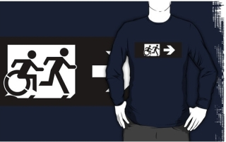 Accessible Means of Egress Icon Exit Sign Wheelchair Wheelie Running Man Symbol by Lee Wilson PWD Disability Emergency Evacuation Adult T-shirt 383
