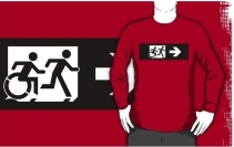 Accessible Means of Egress Icon Exit Sign Wheelchair Wheelie Running Man Symbol by Lee Wilson PWD Disability Emergency Evacuation Adult T-shirt 384