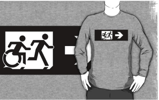 Accessible Means of Egress Icon Exit Sign Wheelchair Wheelie Running Man Symbol by Lee Wilson PWD Disability Emergency Evacuation Adult T-shirt 385