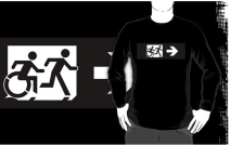 Accessible Means of Egress Icon Exit Sign Wheelchair Wheelie Running Man Symbol by Lee Wilson PWD Disability Emergency Evacuation Adult T-shirt 386