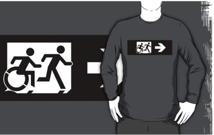 Accessible Means of Egress Icon Exit Sign Wheelchair Wheelie Running Man Symbol by Lee Wilson PWD Disability Emergency Evacuation Adult T-shirt 387