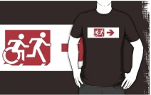 Accessible Means of Egress Icon Exit Sign Wheelchair Wheelie Running Man Symbol by Lee Wilson PWD Disability Emergency Evacuation Adult T-shirt 389