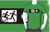 Accessible Means of Egress Icon Exit Sign Wheelchair Wheelie Running Man Symbol by Lee Wilson PWD Disability Emergency Evacuation Adult T-shirt 390