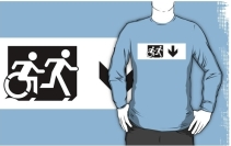 Accessible Means of Egress Icon Exit Sign Wheelchair Wheelie Running Man Symbol by Lee Wilson PWD Disability Emergency Evacuation Adult T-shirt 39