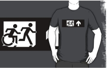 Accessible Means of Egress Icon Exit Sign Wheelchair Wheelie Running Man Symbol by Lee Wilson PWD Disability Emergency Evacuation Adult T-shirt 391