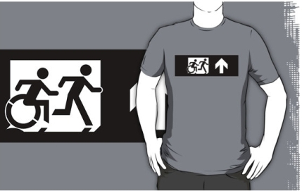 Accessible Means of Egress Icon Exit Sign Wheelchair Wheelie Running Man Symbol by Lee Wilson PWD Disability Emergency Evacuation Adult T-shirt 392