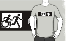 Accessible Means of Egress Icon Exit Sign Wheelchair Wheelie Running Man Symbol by Lee Wilson PWD Disability Emergency Evacuation Adult T-shirt 393