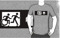 Accessible Means of Egress Icon Exit Sign Wheelchair Wheelie Running Man Symbol by Lee Wilson PWD Disability Emergency Evacuation Adult T-shirt 394