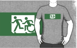 Accessible Means of Egress Icon Exit Sign Wheelchair Wheelie Running Man Symbol by Lee Wilson PWD Disability Emergency Evacuation Adult T-shirt 395