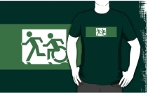 Accessible Means of Egress Icon Exit Sign Wheelchair Wheelie Running Man Symbol by Lee Wilson PWD Disability Emergency Evacuation Adult T-shirt 396