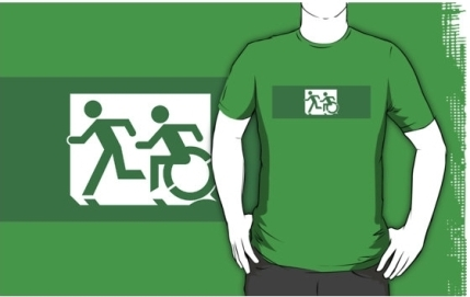 Accessible Means of Egress Icon Exit Sign Wheelchair Wheelie Running Man Symbol by Lee Wilson PWD Disability Emergency Evacuation Adult T-shirt 397