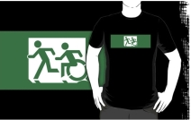 Accessible Means of Egress Icon Exit Sign Wheelchair Wheelie Running Man Symbol by Lee Wilson PWD Disability Emergency Evacuation Adult T-shirt 398