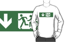 Accessible Means of Egress Icon Exit Sign Wheelchair Wheelie Running Man Symbol by Lee Wilson PWD Disability Emergency Evacuation Adult T-shirt 399