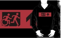 Accessible Means of Egress Icon Exit Sign Wheelchair Wheelie Running Man Symbol by Lee Wilson PWD Disability Emergency Evacuation Adult T-shirt 400