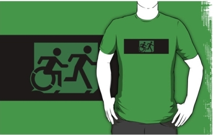 Accessible Means of Egress Icon Exit Sign Wheelchair Wheelie Running Man Symbol by Lee Wilson PWD Disability Emergency Evacuation Adult T-shirt 40