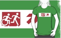 Accessible Means of Egress Icon Exit Sign Wheelchair Wheelie Running Man Symbol by Lee Wilson PWD Disability Emergency Evacuation Adult T-shirt 401