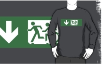 Accessible Means of Egress Icon Exit Sign Wheelchair Wheelie Running Man Symbol by Lee Wilson PWD Disability Emergency Evacuation Adult T-shirt 402