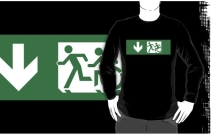 Accessible Means of Egress Icon Exit Sign Wheelchair Wheelie Running Man Symbol by Lee Wilson PWD Disability Emergency Evacuation Adult T-shirt 403