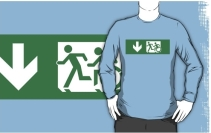 Accessible Means of Egress Icon Exit Sign Wheelchair Wheelie Running Man Symbol by Lee Wilson PWD Disability Emergency Evacuation Adult T-shirt 404