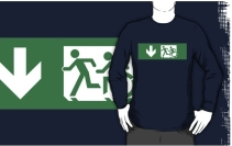Accessible Means of Egress Icon Exit Sign Wheelchair Wheelie Running Man Symbol by Lee Wilson PWD Disability Emergency Evacuation Adult T-shirt 405