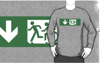 Accessible Means of Egress Icon Exit Sign Wheelchair Wheelie Running Man Symbol by Lee Wilson PWD Disability Emergency Evacuation Adult T-shirt 406
