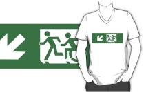 Accessible Means of Egress Icon Exit Sign Wheelchair Wheelie Running Man Symbol by Lee Wilson PWD Disability Emergency Evacuation Adult T-shirt 407