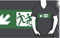 Accessible Means of Egress Icon Exit Sign Wheelchair Wheelie Running Man Symbol by Lee Wilson PWD Disability Emergency Evacuation Adult T-shirt 408