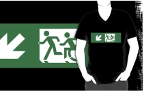Accessible Means of Egress Icon Exit Sign Wheelchair Wheelie Running Man Symbol by Lee Wilson PWD Disability Emergency Evacuation Adult T-shirt 409