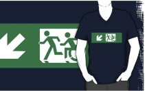 Accessible Means of Egress Icon Exit Sign Wheelchair Wheelie Running Man Symbol by Lee Wilson PWD Disability Emergency Evacuation Adult T-shirt 410