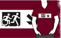 Accessible Means of Egress Icon Exit Sign Wheelchair Wheelie Running Man Symbol by Lee Wilson PWD Disability Emergency Evacuation Adult T-shirt 41