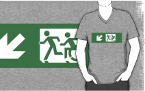 Accessible Means of Egress Icon Exit Sign Wheelchair Wheelie Running Man Symbol by Lee Wilson PWD Disability Emergency Evacuation Adult T-shirt 411