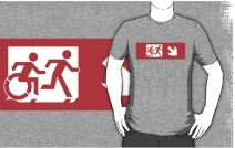 Accessible Means of Egress Icon Exit Sign Wheelchair Wheelie Running Man Symbol by Lee Wilson PWD Disability Emergency Evacuation Adult T-shirt 412