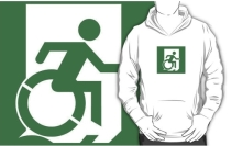 Accessible Means of Egress Icon Exit Sign Wheelchair Wheelie Running Man Symbol by Lee Wilson PWD Disability Emergency Evacuation Adult T-shirt 413