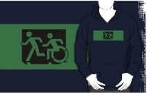 Accessible Means of Egress Icon Exit Sign Wheelchair Wheelie Running Man Symbol by Lee Wilson PWD Disability Emergency Evacuation Adult T-shirt 414