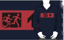 Accessible Means of Egress Icon Exit Sign Wheelchair Wheelie Running Man Symbol by Lee Wilson PWD Disability Emergency Evacuation Adult T-shirt 416